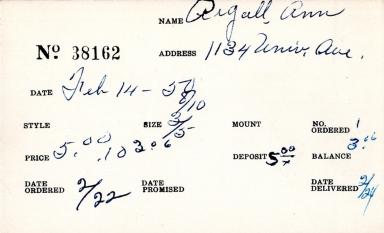 Index card for Ann Argall [?]