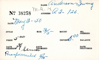 Index card for Irving Anderson