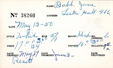 Index card for Jane Babt [?]