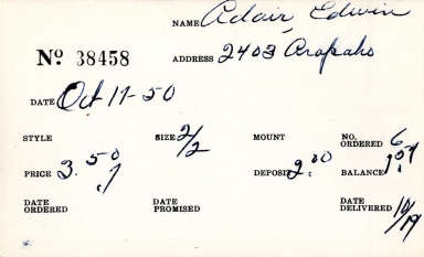 Index card for Edwin Adair