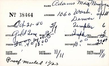 Index card for Mary Joyce Adams