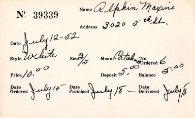 Index card for Maxine Alphin