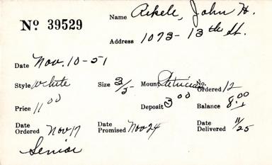 Index card for John H. Aikele