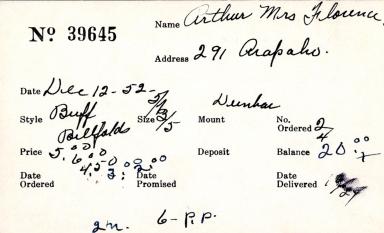 Index card for Florence Arthur