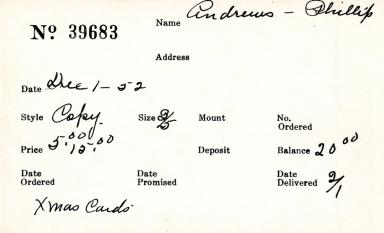 Index card for Phillip Andrews