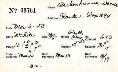 Index card for Donna Aschenbrenner