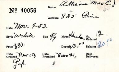 Index card for Mrs. E. J. Allison