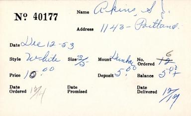 Index card for S. J. Akins