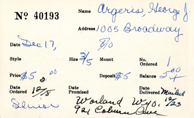 Index card for George J. Argeris