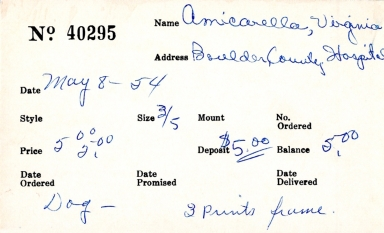 Index card for Virginia Amicarella