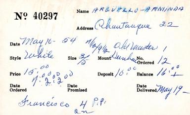 Index card for Arninda Arguello