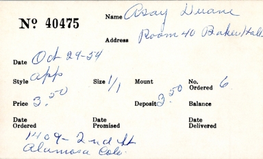 Index card for Duane Asay