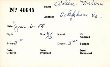 Index card for Melvin Allen