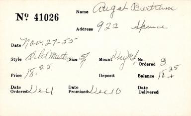 Index card for Bertram A[n?]gst