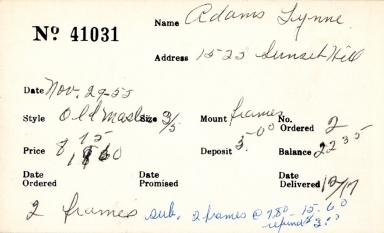 Index card for Lynne Adams