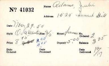 Index card for Julie Adams
