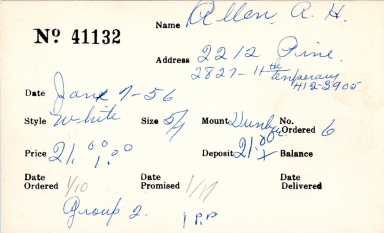 Index card for A. H. Allen