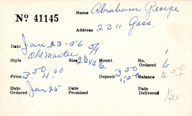 Index card for George Abraham