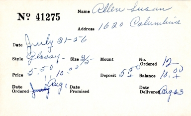 Index card for Susan Allen