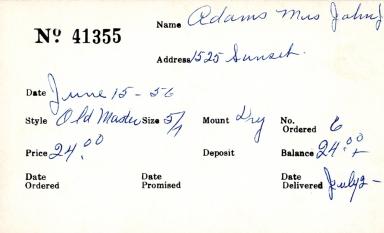 Index card for Mrs. John J. Adams