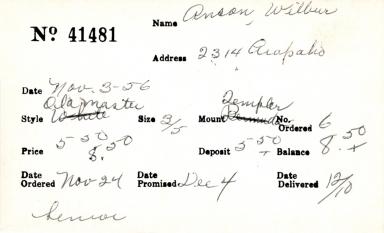 Index card for Wilbur Anson