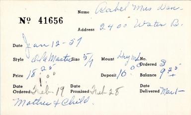 Index card for Mrs. Don Aabel