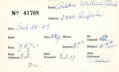 Index card for William Patrick Austin