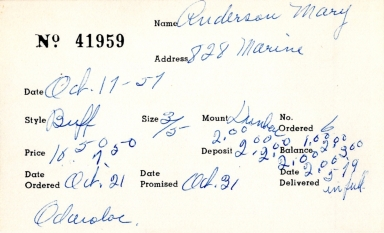 Index card for Mary Anderson