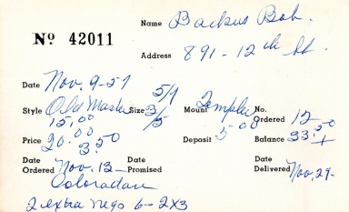Index card for Bob Backus