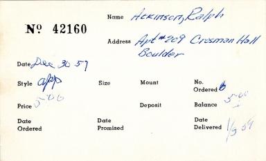 Index card for Ralph Atkinson