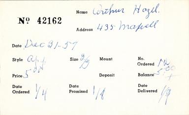 Index card for Hazel Arthur