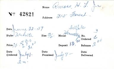 Index card for H. L. Amoss, Jr.