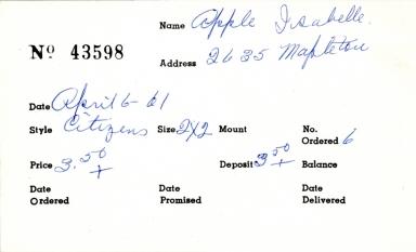 Index card for Isabelle Apple