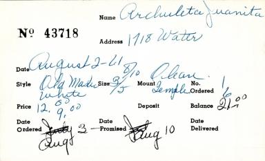 Index card for Juanita Archuleta