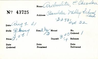 Index card for E. Theodou Archuleta