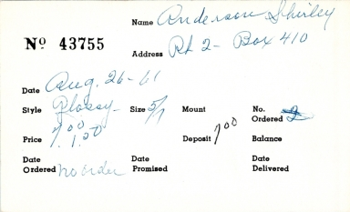 Index card for Shirley Anderson