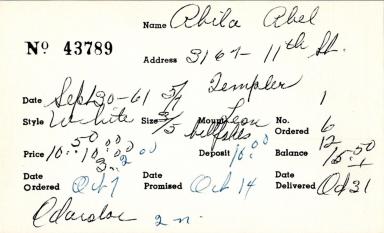 Index card for Abel Abila