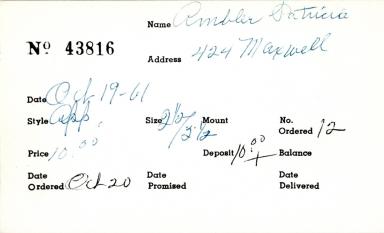 Index card for Patricia Ambler