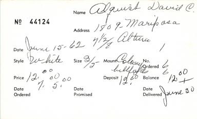 Index card for David C. Alquist