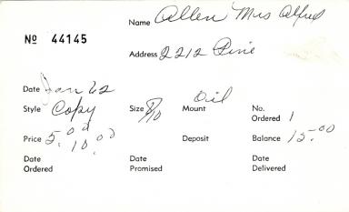 Index card for Mrs. Alfred Allen