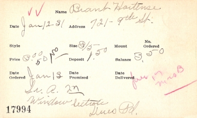 Index card for Hortense Brant