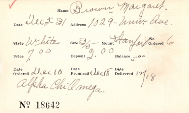 Index card for Margaret Brown