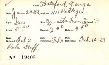 Index card for George Batsford