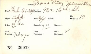 Index card for Henrietta Bona Viez