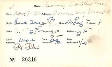 Index card for Dorothy Ann Bown