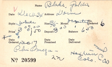 Index card for Goldie Blake