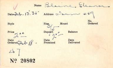 Index card for Eleanor Blaine
