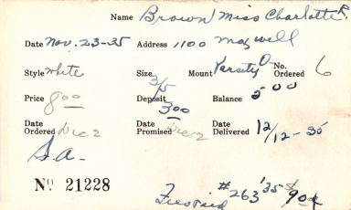Index card for Charlotte R. Brown