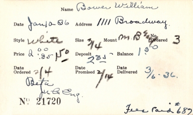 Index card for William Bower