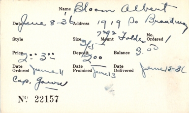 Index card for Albert Bloom